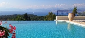 Corfu Villa Andrea view of Kassiopi from the pool