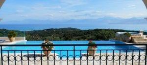 Corfu Villa Julia view of Kassiopi from the pool