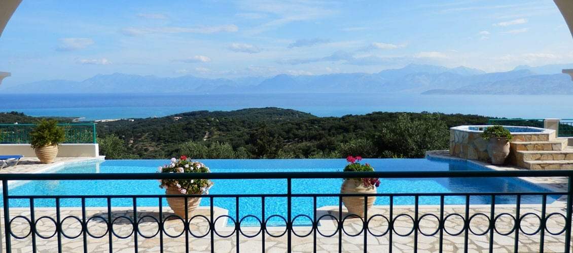 Corfu Villa Julia view of Kassiopi from the pool