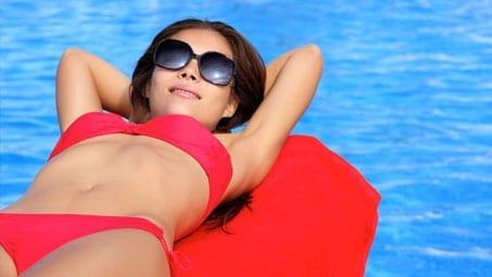Sunbathing visitor to Luxury Corfu Villas in Kassiopi