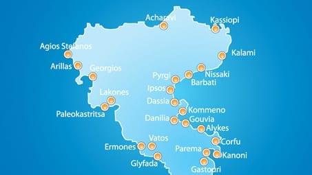 Stylised map of Corfu