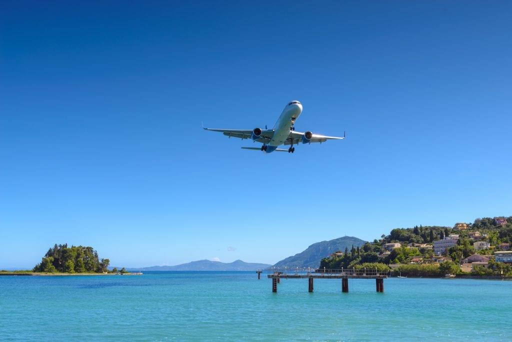 corfu plane landing